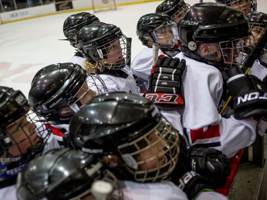 Port Huron Flags players get in a huddle between periods during a Pee Wee A hockey game Thursday, Jan. 21, 2016 at McMorran Arena.