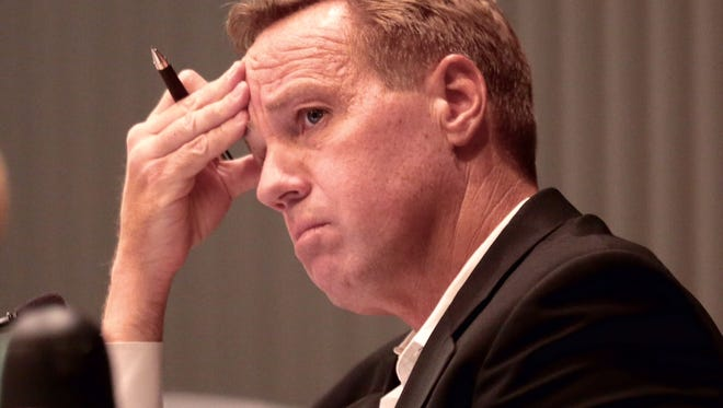 Palm Springs Mayor Steve Pougnet calmly announced Wednesday, September 2, 2015, he will not resign amid a corruption probe that has rocked this desert city.