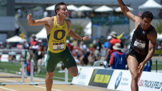 Oregon's Devon Allen, left, of Phoenix won 2014 NCAA and U.S. 110-meter hurdles titles and is a contender for the 2016 Rio Olympics.