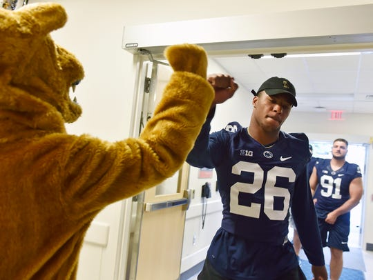 The Nittany Lion greets incoming Penn State football