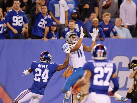 New York Giants' Eli Apple (24) defends Detroit Lions' Marvin Jones (11) as Jones catches a pass for a touchdown during the first half of an NFL football game, Monday, Sept. 18, 2017, in East Rutherford, N.J. (AP Photo/Bill Kostroun)