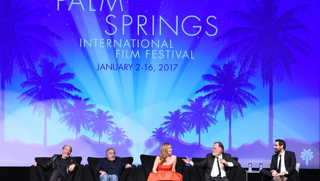 """Closing night at the Film Festival (l-r) producer Art Linson, actor Robert De Niro, actress Leslie Mann, director Taylor Hackford, and PSIFF artistic director Michael Lerman, who moderated the panel, gave a lively Q&A after the screening of """"The Comedian"""" to a sellout crowd that gave a standing ovation to De Niro."""