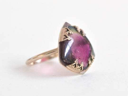 A watermelon tourmaline ring by Diana Fakhoury.