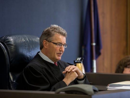Judge Michael West speaks during sentencing Thursday,