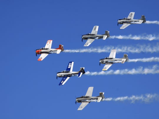 The T-28 Trojan Horseman Formation Flight Team will perform at Sunday afternoon'' at Sheboygan County Memorial Airport.