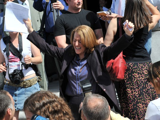Kate Kendell of NCLR celebrates the 2008 marriage equality victory in California prior to Prop 8 passing and thwarting gay marriage.