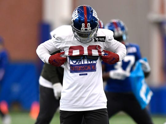 New York Giants wide receiver Victor Cruz wears a Paterson, NJ shirt under his jersey during practice at Quest Training Center in East Rutherford, NJ on Wednesday, January 4, 2017.
