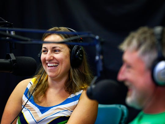 Mighty Fine Farm and Food podcast hosts Ivor Chodkowsk and Summer Auerbach laugh during one of the shows. May 26, 2016