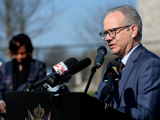 Mayor David Briley speaks about the future of Fort Negley and Greer Stadium on March 13 in Nashville.