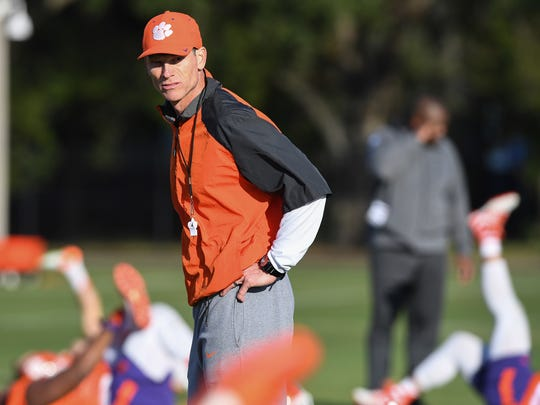 Clemson defensive coordinator Brent Venables during the teams practice in Tampa on Saturday, January 7, 2017.