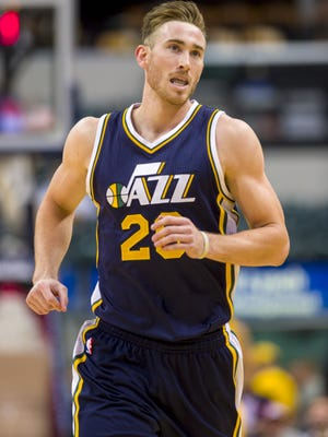FILE -- Utah Jazz forward and Brownsburg native Gordon Hayward (20) runs back up court during first-half action. The Indiana Pacers hosted the Utah Jazz in NBA action, Monday, Nov. 10, 2014, at Bankers Life Fieldhouse.