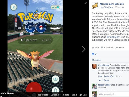 The Montgomery Biscuits are getting involved in the Pokemon Go craze.