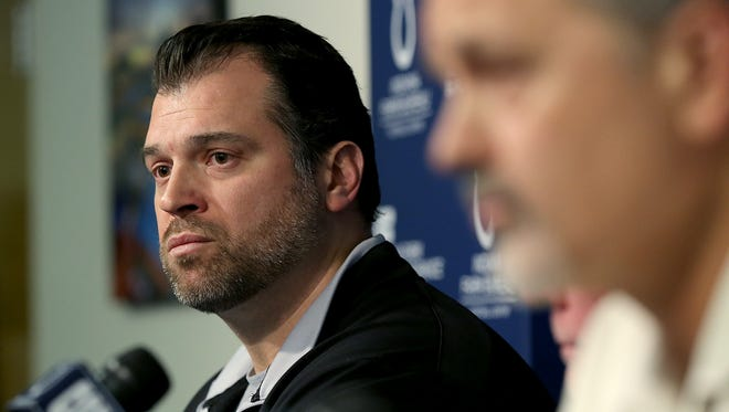The Indianapolis Colts announce that head coach Chuck Pagano will return as he signs a contract extension with the team. Here Indianapolis Colts GM Ryan Grigson,left, listens as head coach Chuck Pagano,right, addresses the media.