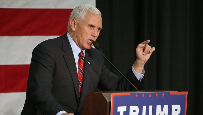Indiana Gov. Mike Pence, the Republican nominee for vice president, speaks Friday, Sept. 30, 2016, at the Allen County War Memorial Coliseum in Fort Wayne.