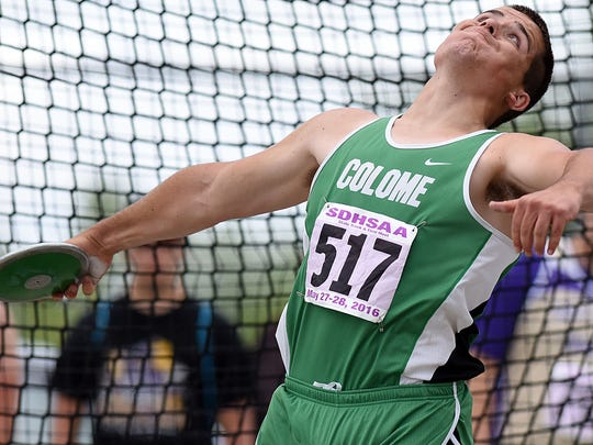 Colome's Matt Campbell competes in the Class B boys