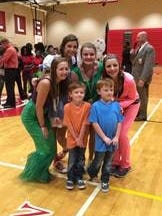 Make-A-Wish kids, Ethan and Evan, pictured with Greenville High student council officers during the school's Spirit Week celebration.