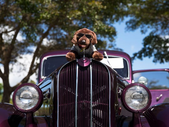 A stuffed dog adorns the hood of a 1937 Plymouth Hot Rod during The Cool Cruisers Car Club classic car show at Miromar Design Center in Estero, Fla., on Sunday, Feb. 19, 2017.