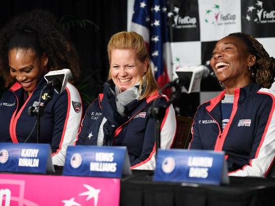 From left, Serena Williams, US Team Captain Kathy Rinaldi