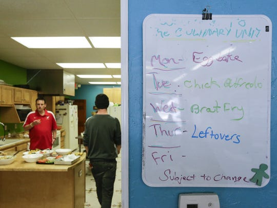 The weekly culinary menu at Painting Pathways Clubhouse