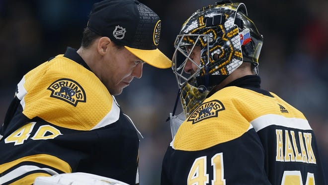 Bruins goalies Tuukka Rask, left, and Jaroslav Halak have each put up impressive numbers this season and both should see game action in the Stanley Cup playoffs.