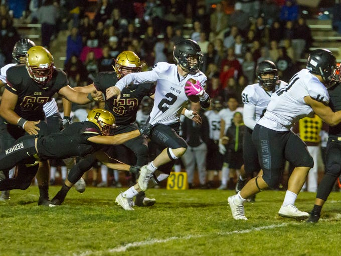 Pine View quarterback Dallin Brown (2) carries the
