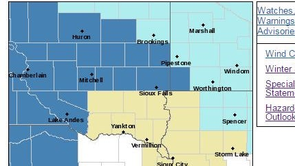 The Sioux Falls area is under a winter storm watch from Friday through Saturday. Winter storm watch for areas in dark blue. Wind chill advisory for areas in light blue.