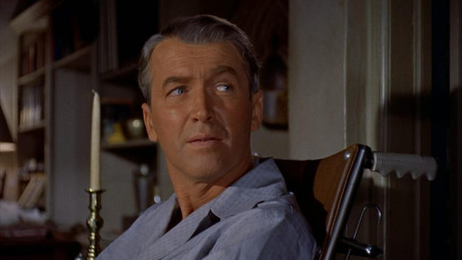 "Jimmy Stewart in a still from ""Rear Window"""