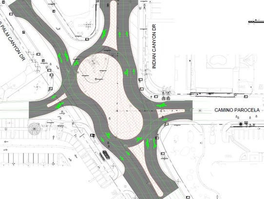 This diagram shows a roundabout Palm Springs officials