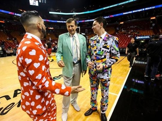 'I wasn't even alive when he started wearing his jackets like this', Sean Baum said of Craig Sager. He and friend Moody Hammed (left) dressed in bright suits at the Miami Heat game to honor Sager. They are big fans of his. Sager admires the outfits when the guys asked for a photo with him. Craig Sager, the eccentric TNT/TBS NBA sideline reporter began his broadcast career with WINK-TV in Fort Myers in the mid-1970s. He's now renewing his very public battle against leukemia while still working NBA games. He worked the Chicago Bulls at Miami Heat game on Thursday, April 7, 2016.