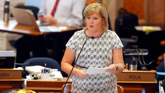 "Iowa state Rep. Shannon Lundgren, a Republican representing Dubuque, Iowa, speaks on the House floor in Des Moines on Tuesday, May 1, 2018, during debate on the state's ""heartbeat"" abortion bill."