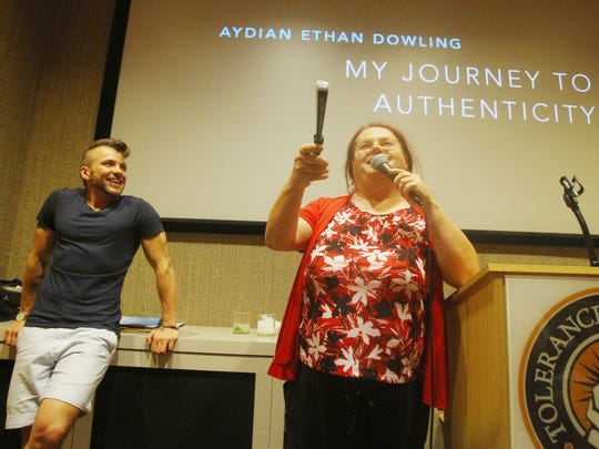 At left, social activist Thomi Clinton introduces Aydian Dowling during the second annual  Trans Pride event held at the Tolerance Education Center on June 28, 2016 in Rancho Mirage. The event included a question and answer sessions with health specialists.