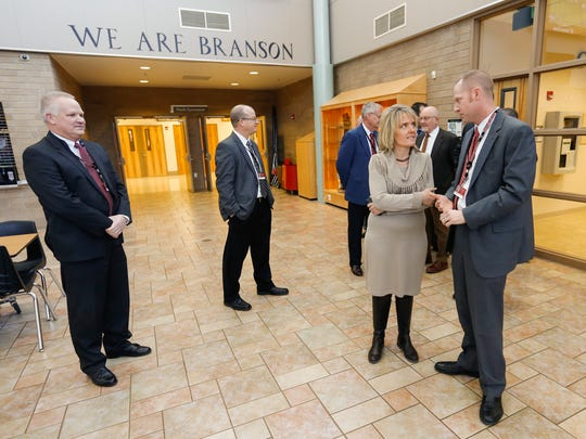 Margie Vandeven, commissioner of education for Missouri, talks with Branson High School principal Jack Harris during a tour on Friday, January 27, 2017.