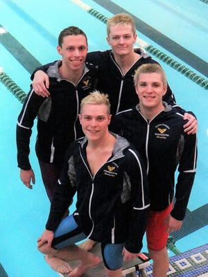 Harrison-Farmington's 200-free relay team of Brendan Paul, Drew Hinckley, Drew Hoelscher and Tristan Strasberber set a new record at the recent OAA White Division championship meet.