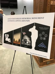 The tentative design for the Louisiana Gold Star Families Monument was unveiled on Thursday at a meeting at the State Capitol.