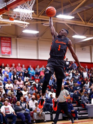 Stratford's Juwan Carpenter goes for a dunk during their 10-AA championship game, Tuesday, Feb. 20, 2018, in Nashville, Tenn. (Photo by Wade Payne, Special to the Tennessean)