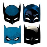 "Four different masks will be given to fans at Batman Day on July 23 in comic shops around the country: (clockwise from top left) the original 1939 cowl, the 1960s Adam West design, the current look and the mask from Frank Miller's ""The Dark Knight Returns."""