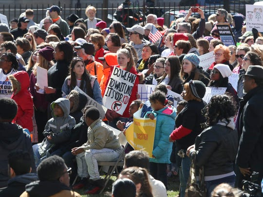 Protesters listen to remarks during the March for our Lives rally in Rodney Square in Wilmington on  Saturday.