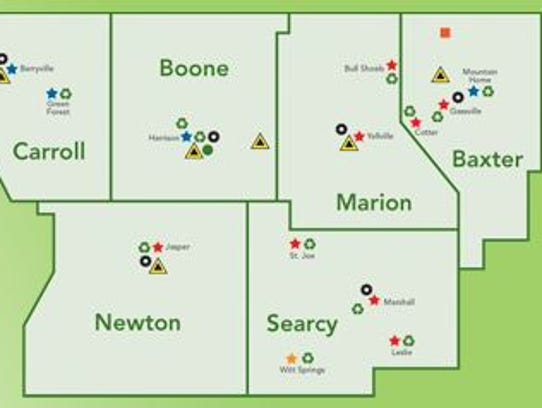 This map shows the six counties that comprise the Ozark