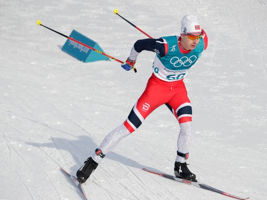 Simen HegstadKrueger, of Norway, competes during the men's 15km freestyle cross-country skiing competition at the 2018 Winter Olympics in Pyeongchang, South Korea, Friday, Feb. 16, 2018. (AP Photo/Dmitri Lovetsky)