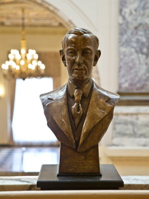 A bust of Woodrow Wilson stands in the interior of the building that bares his name. Monmouth University holds a discussion with local stakeholders about renaming Wilson Hall because of the former president's racist past.  West Long Branch, NJ  Thursday, April 14, 2016 @DhoodHood