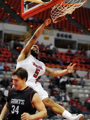 The late J.J. Thomas dunks for UL during a January 2011 game against Centenary at the Cajundome.