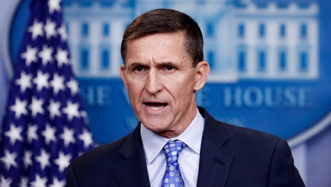 In this Feb. 1 file photo, National Security Adviser Michael Flynn speaks during the daily news briefing at the White House, in Washington. Flynn resigned as President Donald Trump's national security adviser Monday.
