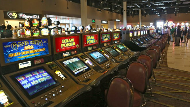 Slot machines at the Tortoise Rock Casino in Twentynine Palms, just before opening in March.