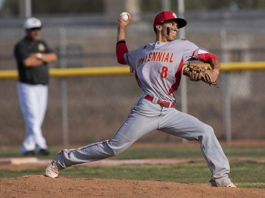 Junior Peña has been the top pitcher for Centennial this season. He's 7-0 with a 2.19 ERA. Peña and the Hawks host Clovis in a Class 6A best-of-three first round series at the Field of Dreams Friday and Saturday.