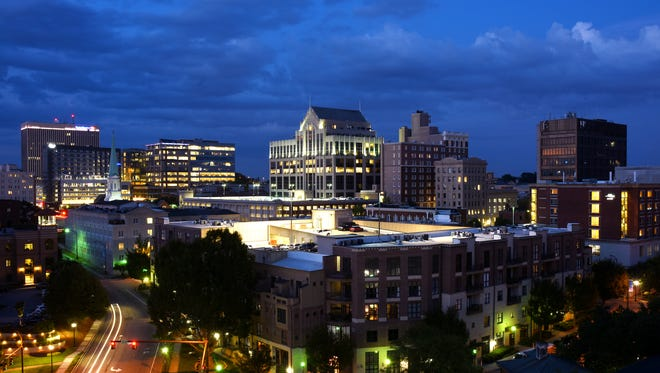 The view of downtown Greenville from Up on the Roof at the Embassy Suites Riverplace.