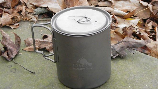 Toaks titanium 750 ml. pot makes preparing common foods easy.