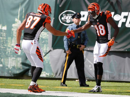 Cincinnati Bengals tight end C.J. Uzomah (87), left, celebrates with wide receiver A.J. Green (18) after Green's touchdown in the 2nd quarter over the New York Jets at MetLife Stadium in East Rutherford, New Jersey, Sunday, September 11, 2016.