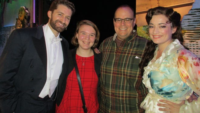 """APP Insider contest winners Jackie and Jeffrey Ashmen backstage at """"Finding Neverland"""" with show stars Matthew Morrison (left) and Laura Michelle Kelly (right) on Dec.11."""