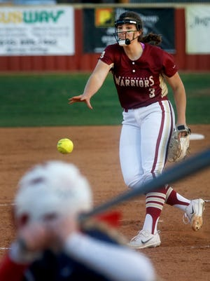Riverdale's Kaylee Hewitt fires a pitch during Tuesday's 10-1 win over Oakland. Hewitt, a transfer from New Mexico, has been one of the top players in the area this season.