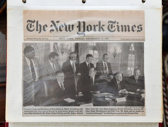 On Dec. 13, 1990, Coleman met with President George H.W. Bush at theWhite House with six fellow former hostages. He keeps this New York Times story in his scrapbook.